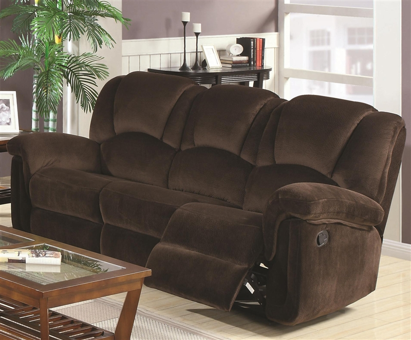 Ajay 2 Piece Reclining Sofa Loveseat Set In Chocolate