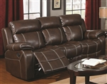Myleene Reclining Sofa in Chestnut Bonded Leather by Coaster - 603021