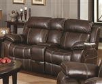 Myleene Reclining Loveseat in Chestnut Bonded Leather by Coaster - 603022