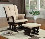 Beige Microfiber Glider with Matching Ottoman by Coaster - 650011