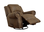 Sir Rawlinson Swivel Rocker Recliner in Brown Microfiber by Coaster - 650153