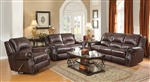 Sir Rawlinson 2 Piece Reclining Sofa Set in Burgundy Brown Leather by Coaster - 650161-S
