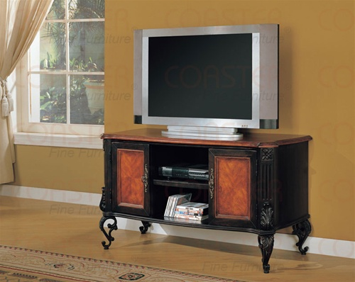style two tone black and cherry finish tv stand by coaster