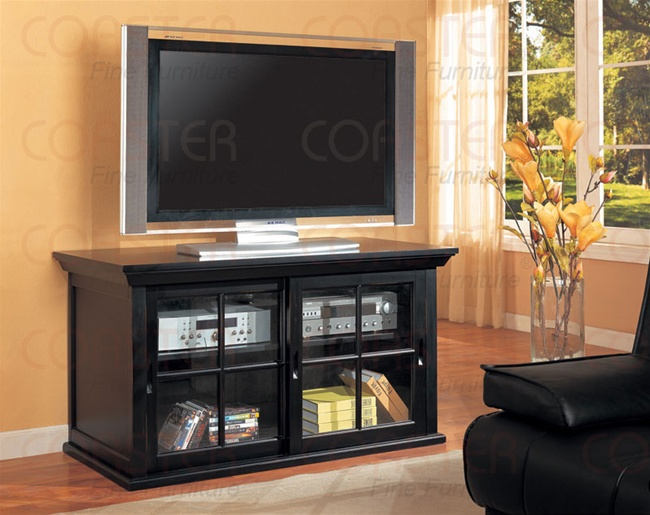 Distressed Black Finish Sliding Doors Tv Console By