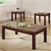 Marble Like Top 3 Piece Occasional Table Set in Cherry Finish by Coaster - 700305