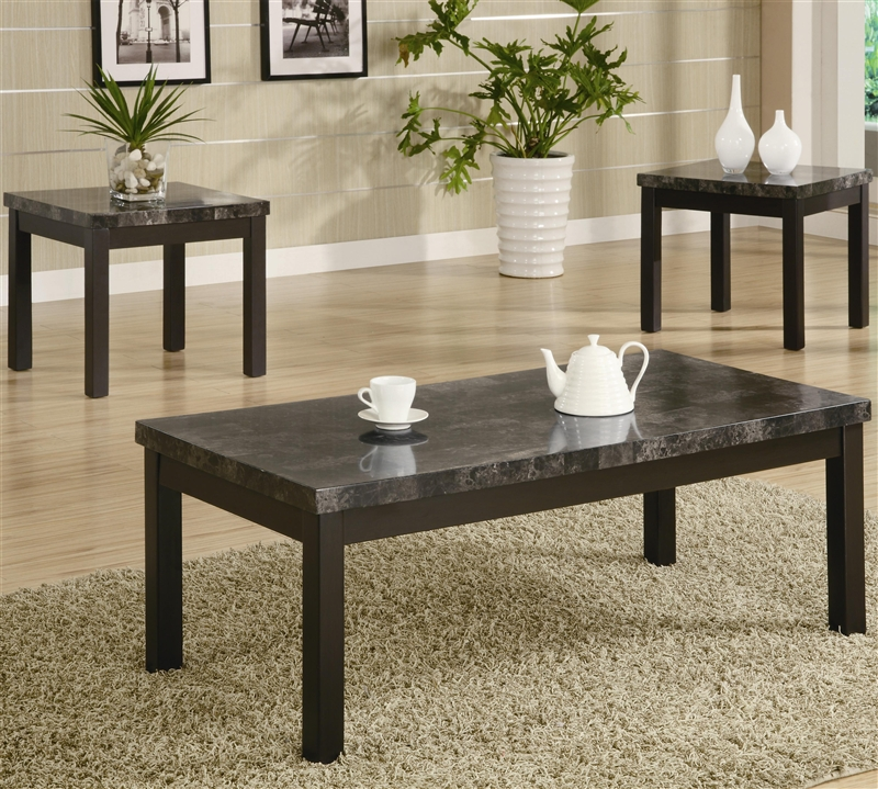 Marble Coffee Table Set: Marble Like Top 3 Piece Occasional Table Set In Black