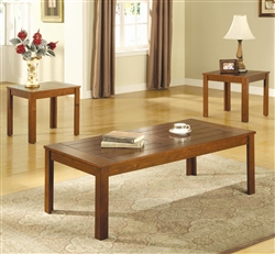 3 Piece Occasional Table Set in Medium Golden Finish by Coaster - 700570
