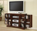 Plasma TV Console with Media Storage in Dark Brown Finish by Coaster - 700636