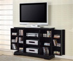 Plasma TV Console with Media Storage in Rich Black Finish by Coaster - 700637