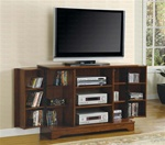 Plasma TV Console with Media Storage in Mission Oak Finish by Coaster - 700639