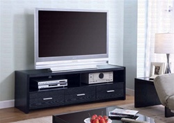 61-Inch TV Stand in Black Finish by Coaster - 700645