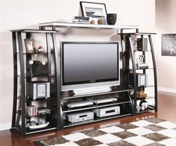 "60"" TV Console Entertainment Center in Black and Silver Finish by Coaster - 700681"