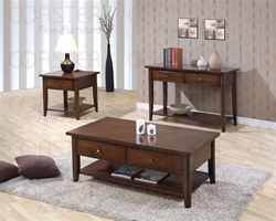 3 Piece Occasional Table Set in Walnut Finish by Coaster - 700957S