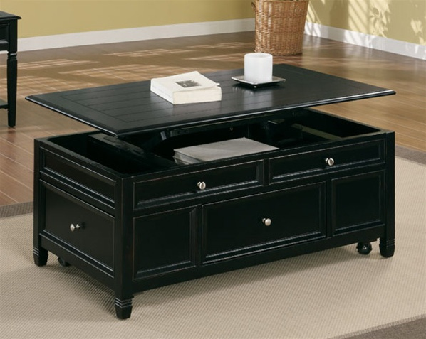 Lift top cocktail table in black finish by coaster 701138 Black lift top coffee tables