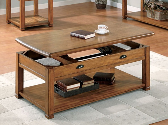 Lift top coffee table in oak finish by coaster 701188 Lifting top coffee table