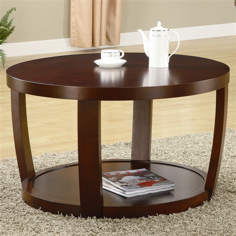 round coffee table in rich cherry finish by coaster 701318. Black Bedroom Furniture Sets. Home Design Ideas
