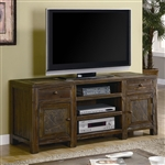 60 Inch TV Stand in Distressed Brown Oak Finish by Coaster - 701372