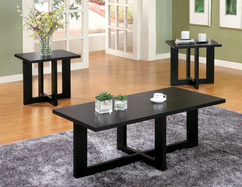 Living Room 3 Piece Table Sets 3 piece occasional table set in black finishcoaster - 701503