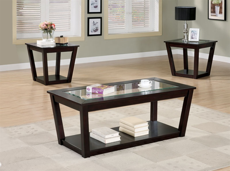 3 piece occasional table set in cappuccino finishcoaster - 701506