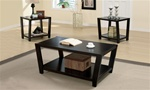 3 Piece Occasional Table Set in Rich Dark Cappuccino Finish by Coaster - 701510