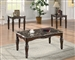 Marble Top 3 Piece Occasional Table Set in Rich Cherry Finish by Coaster - 701554