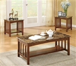 Marble Laminate Top 3 Piece Occasional Table Set by Coaster - 701570