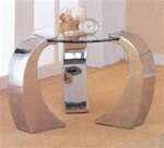 Beveled Kidney Occasional Glass End Table With Chrome Plated Legs by Coaster - 720057