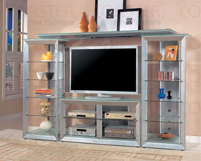 Modern Style Silver Finish 4 Piece Entertainment Center By
