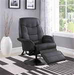 Berri Black Leatherette Swivel Recliner with Flared Arms by Coaster - 7501