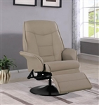 Berri Beige Leatherette Swivel Recliner with Flared Arms by Coaster - 7502