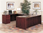 "Sandoval 72"" Executive Full Pedestal ""U"" Group in Cherry Finish by Coaster - 750UFP"
