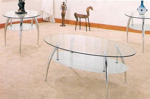 Chrome Glass 3p Occasional Table Set By Coaster 7635