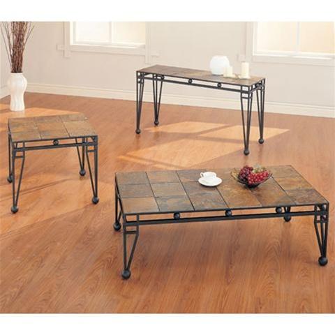 slate design metal base coffee end table set accent by coaster 7637. Black Bedroom Furniture Sets. Home Design Ideas