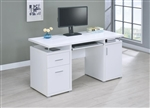 Computer Desk in White Finish by Coaster - 800108