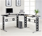 Modern L Shape Desk with Silver Frame & Black Glass by Coaster - 800228