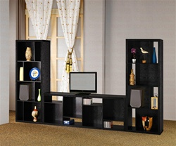 3 Piece Bookcase Wall in Black Finish by Coaster - 800275