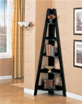 Corner Bookcase in Black Finish by Coaster - 800353