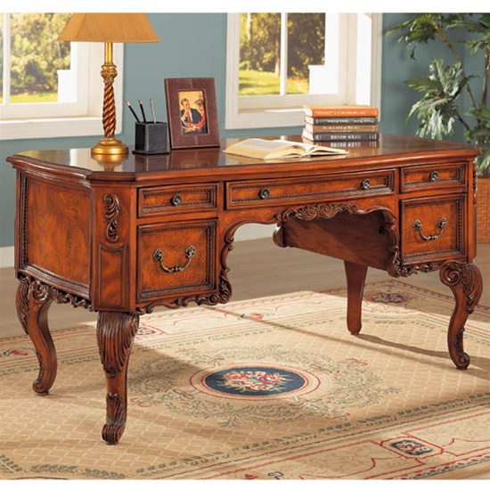- Antique Home Office Desk In Cherry Finish By Coaster - 800541