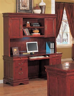 Louis Philippe Home Office Credenza With Hutch In Deep Rich Cherry Finish  By Coaster   800560