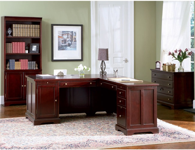 4 piece l-shaped desk home office executive set in rich cherry