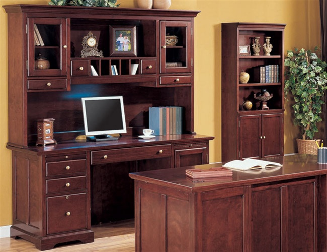 home office credenza with hutch in rich cherry finish by coaster 800577