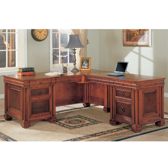 Aspenhome Warm Cherry Executive Modular Home Office: Home Office L-Shaped Executive Desk In Two Tone Finish By