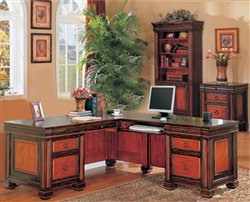 3 Piece Home Office Executive Set in Dark Two Tone Finish by Coaster - 800701S