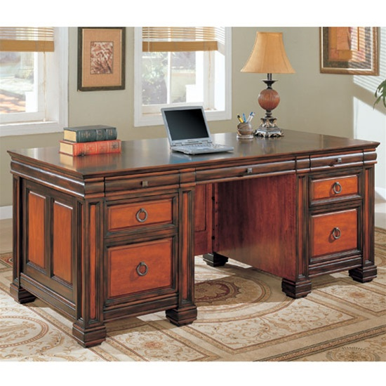 home office executive desk in dark two tone finishcoaster - 800701