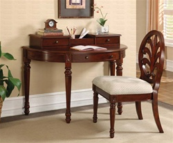 2 Piece Writing Desk Set in Deep Brown Cherry Finish by Coaster - 800715