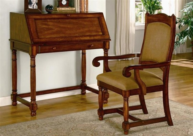 2 Piece Home Office Secretary Desk With Chair In Brown
