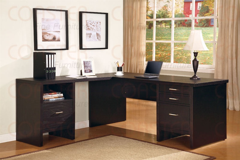 L Shape Desk In Cappuccino Finish By Coaster 800781