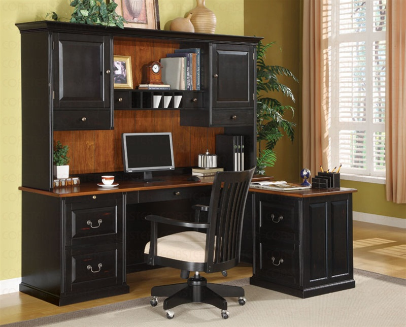 - 3 Piece L-Shaped Desk Set In Two Tone Finish By Coaster - 800851L