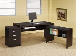3 Piece Computer Desk in Cappuccino Finish by Coaster - 800901