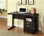 2-Piece Desk Set with Rolling File Cabinet in Rich Cocoa Finish by Coaster - 800916